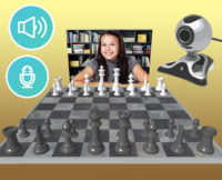 Juego de ajedrez con el chat de cámara web y micrófono