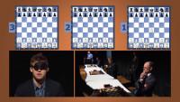 Magnus Carlsen en una simultánea a ciegas con tres ajedrecistas