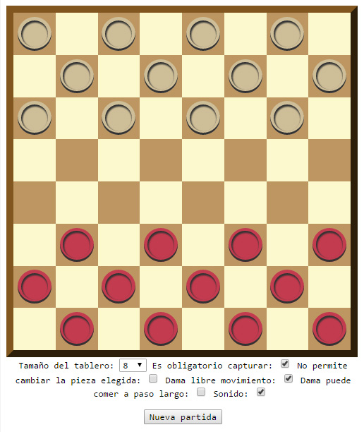 Juego de Damas para dos Jugadores en el mismo ordenador