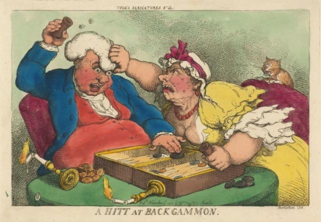 """""""Una partida de backgammon"""" una caricaturas de Tegg del 1810"""