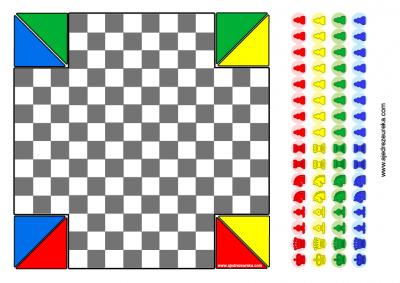 Juego de Ajedrez para 4 Jugadores para imprimir