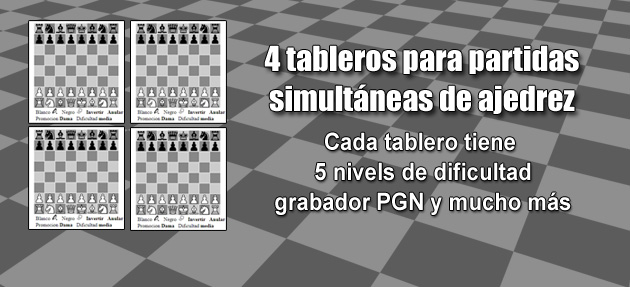 4 tableros para partidas simultáneas de ajedrez