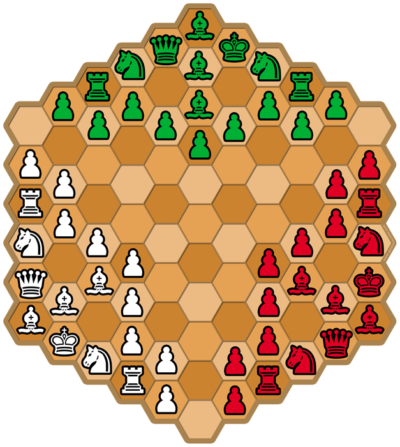 Juego Hexagonal de Ajedrez para tres jugadores para imprimir