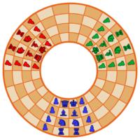 Juego de ajedrez circular de 3 jugadores para imprimir
