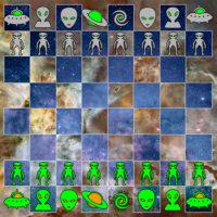 Juego de ajedrez con piezas de extraterrestres para imprimir