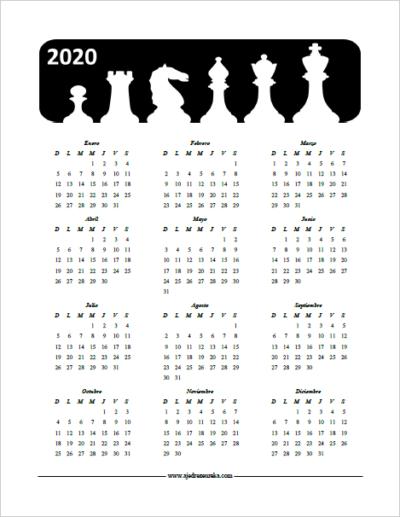 Calendario 2020 para imprimir - Las seis piezas de el ajedrez