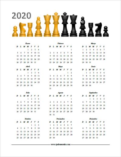 Calendario 2020 para imprimir - Piezas Ajedrez