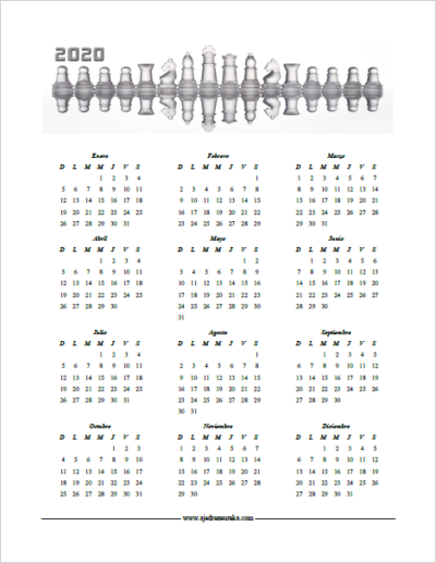 Calendario 2020 para imprimir - Piezas de Ajedrez reflejas