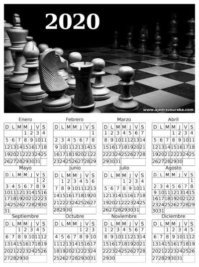 Calendario 2020 para imprimir - Tablero de Ajedrez