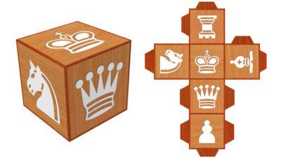 Dado con las seis piezas de ajedrez para imprimir y construir