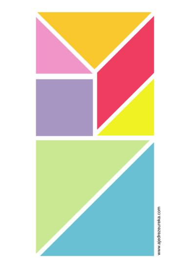 Juego del Tangram colorado para imprimir