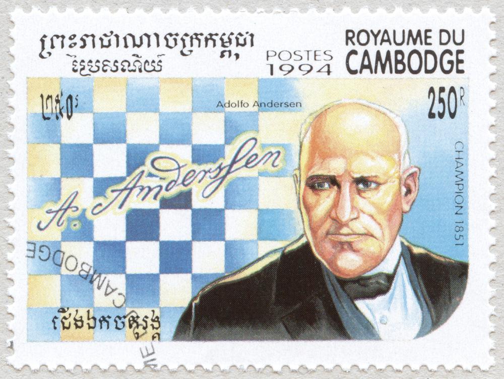Adolfo Andersen. Campeón del Mundo de Ajedrez en 1851. Reino de Camboya 1994.