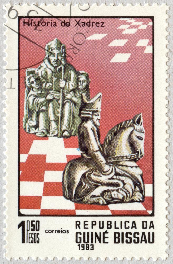 Historia del Ajedrez. Alfil y Caballo. República de Guinea Bissau 1983.