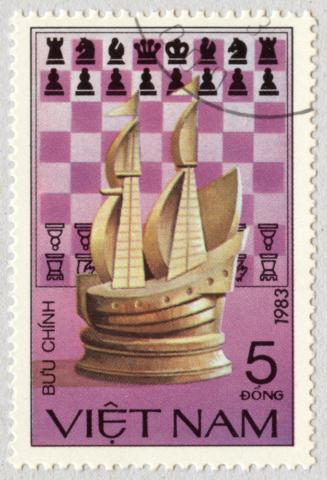 Tablero de Ajedrez con Barco. Vietnam 1983.