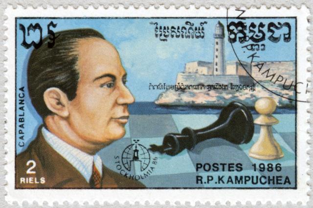 José Raúl Capablanca. Castillo El Morro, Cuba. Stockholmia 86. República Popular de Kampuchea 1986.