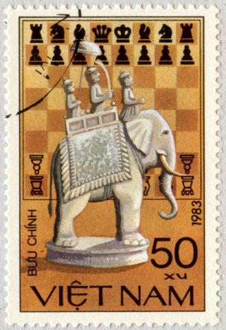 Tablero de Ajedrez con Elefante. Vietnam 1983.