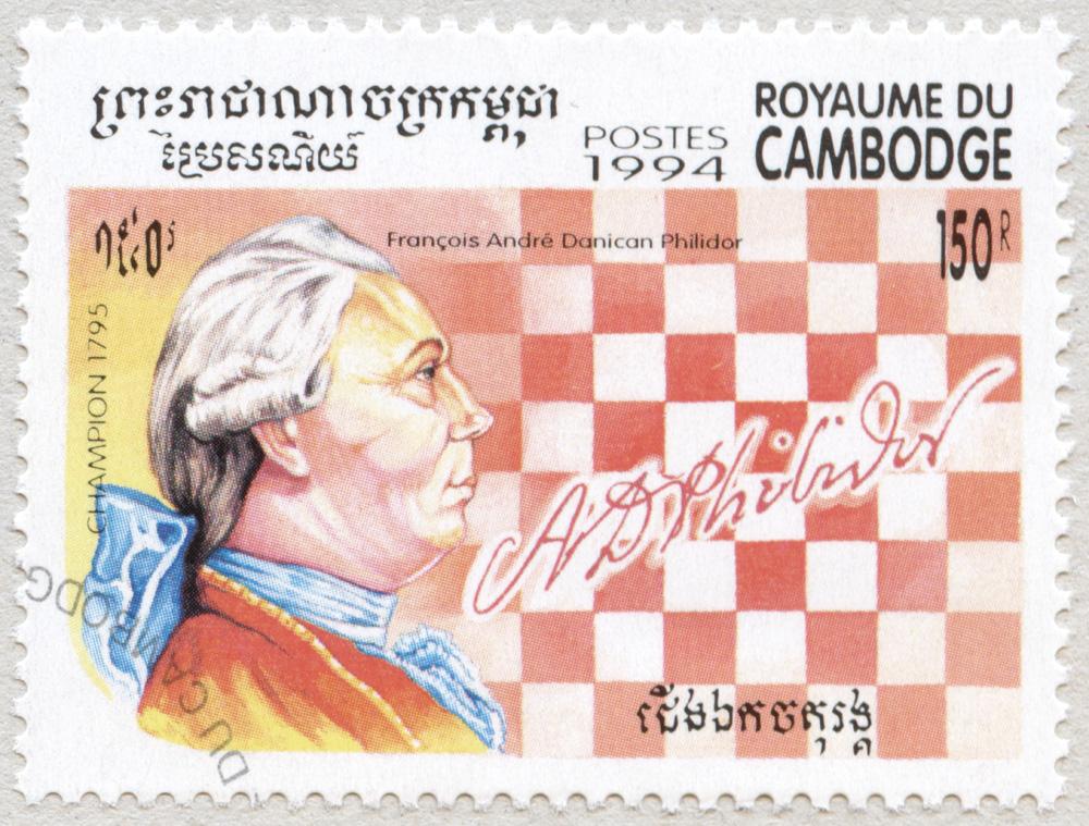 François André Danican Philidor. Campeón del Mundo de Ajedrez en 1795. Reino de Camboya 1994.