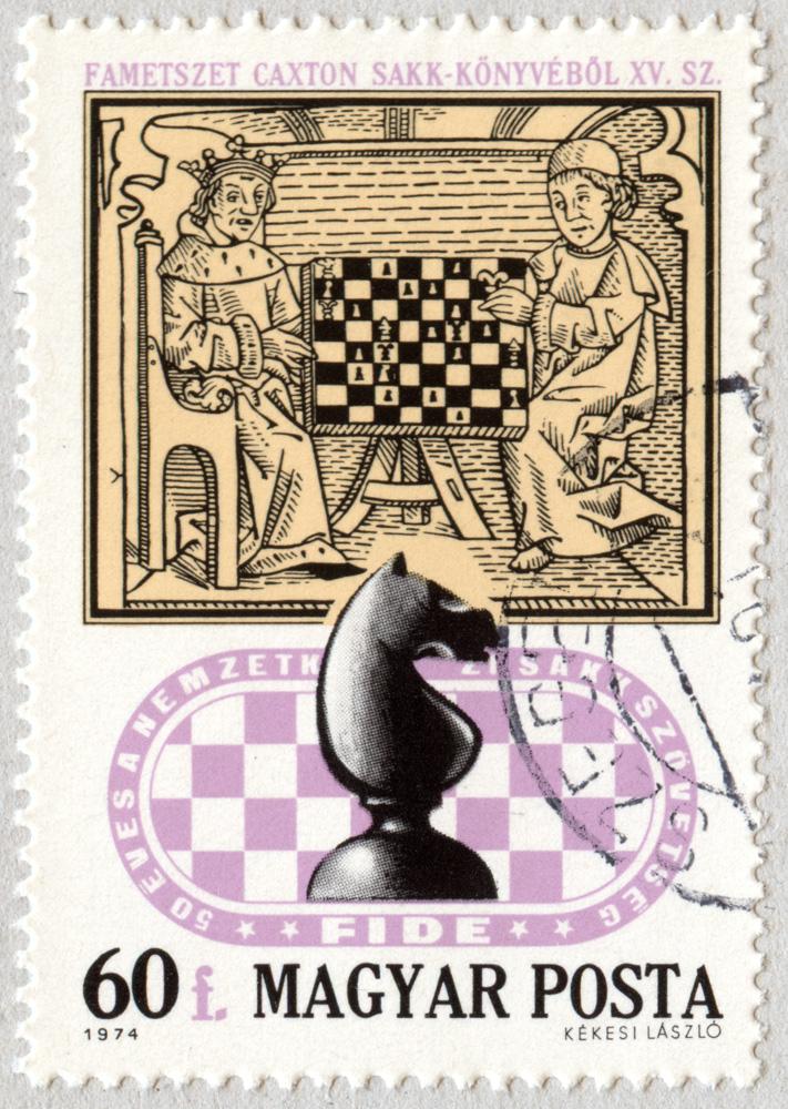Grabado del Libro de ajedrez de Caxton (siglo XV). El Caballo. 50 años de la Asociación Internacional de Ajedrez - XXI Juegos Olímpicos de ajedrez. Hungría 1974.