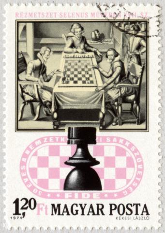 Grabado en cobre del libro de Selenus (siglo XVII). La Torre. 50 años de la Asociación Internacional de Ajedrez - XXI Juegos Olímpicos de ajedrez. Hungría 1974.