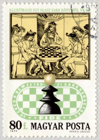Ilustración de un libro de ajedrez italiano (siglo XV). El Peón. 50 años de la Asociación Internacional de Ajedrez - XXI Juegos Olímpicos de ajedrez. Hungría 1974.