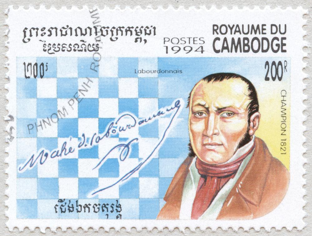 Labourdonnais. Campeón del Mundo de Ajedrez en 1821. Reino de Camboya 1994.