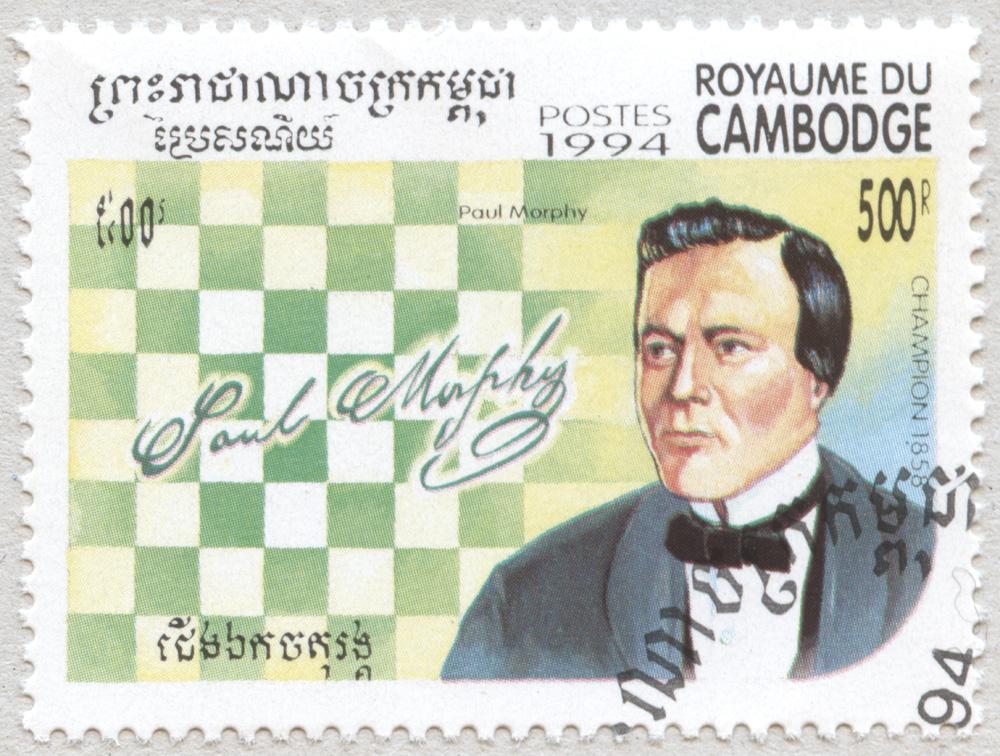 Paul Morphy. Campeón del Mundo de Ajedrez en 1858. Reino de Camboya 1994.