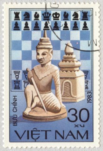Piezas de Ajedrez: Peón y Torre. Vietnam 1983.