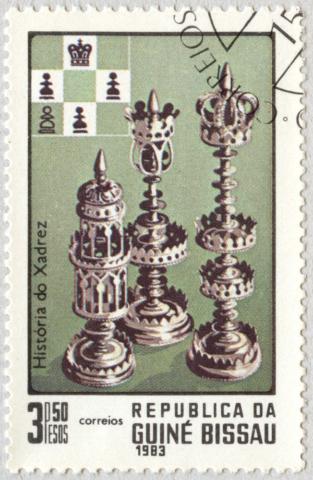 Historia del Ajedrez. Rey, Dama y Torre. República de Guinea Bissau 1983.