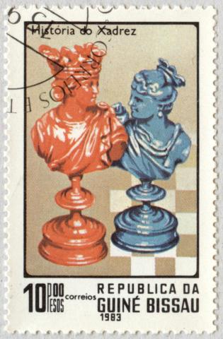 Historia del Ajedrez. Rey y Reina. República de Guinea Bissau 1983.