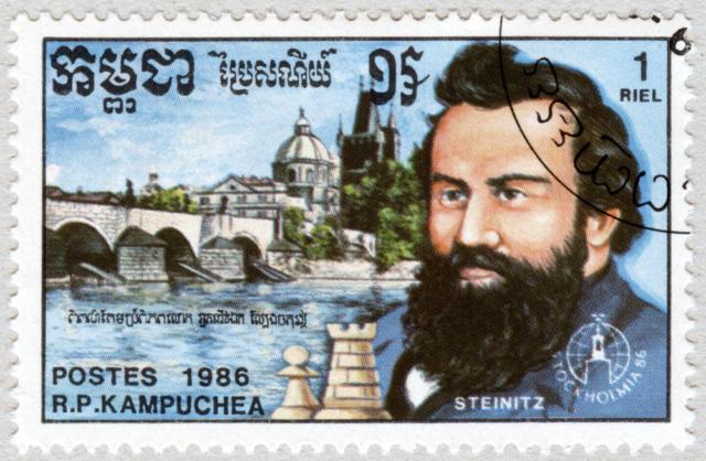 Wilhelm Steinitz. Puente Carlos, Praga. Stockholmia 86. República Popular de Kampuchea 1986.
