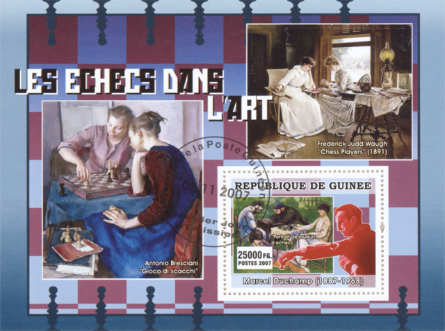 "El Ajedrez en el Arte - Antonio Bresciani ""Gioco di scacchi"" - Frederick Judd Waugh ""Chess Players"" (1891) - Marcel Duchamp (1887-1968) ""Portrait de joueurs d'échecs"" - República de Guinea 2007"