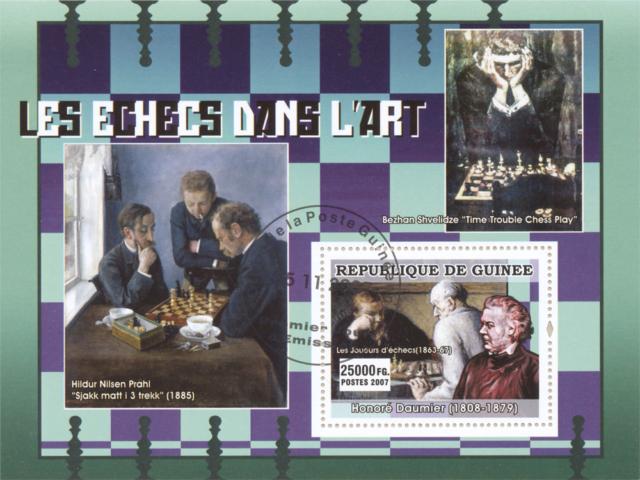 """El Ajedrez en el Arte - Hildur Nilsen Prahl """"Sjakk matt i 3 trekk"""" (1885) - Bezhan Shvelidze """"Time Trouble Chess Play"""" - Honoré Daumier (1808-1879) """"Les Joueurs d'échecs"""" (1863-67) - República de Guinea 2007"""