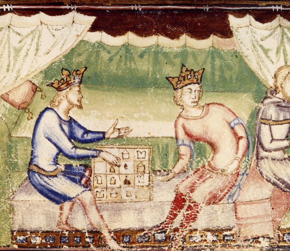 Dos reyes juegan al ajedrez. Producido para Louis II, rey de Nápoles. 1352.