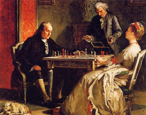 Benjamin Franklin jugando ajedrez. Edward Harrison May. 1867.