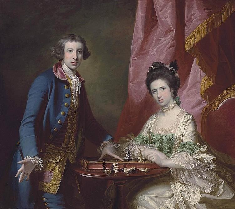 William Earle Welby, de Denton, Lincolnshire y su primera esposa, Penélope, jugando al ajedrez. Francis Cotes. 1769.