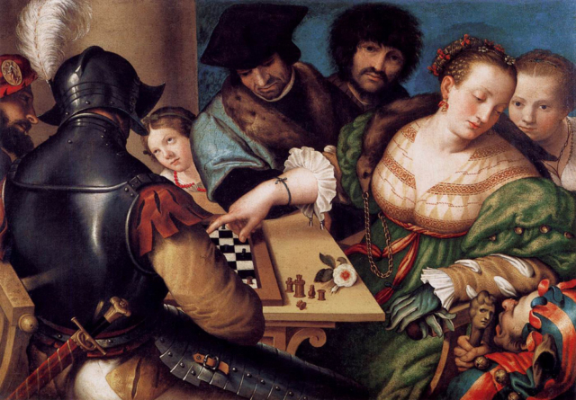 Los jugadores de ajedrez. Giulio Campi. 1530.