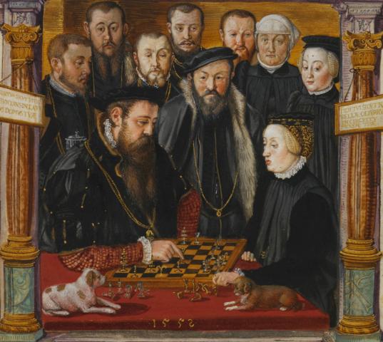 Duke Albrecht V de Bavaria y su esposa Anna de Austria juegan ajedrez. Hans Mielich. 1552.