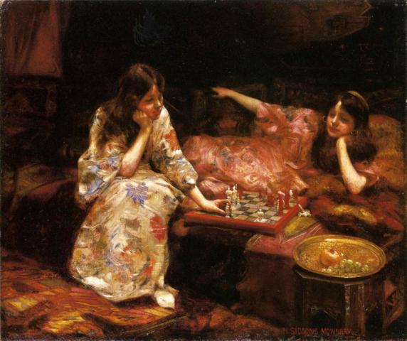 La partida de ajedrez. Henry Siddons Mowbray. 1890.