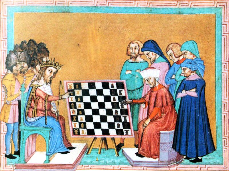 Los Loucos. Miniatura de la obra de Jacques de Cessoles. Siglo XV.