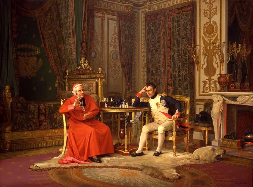 ¡Jaque! Napoleón y el cardenal Joseph Fesch. Jehan Georges Vibert. 1870/1902.
