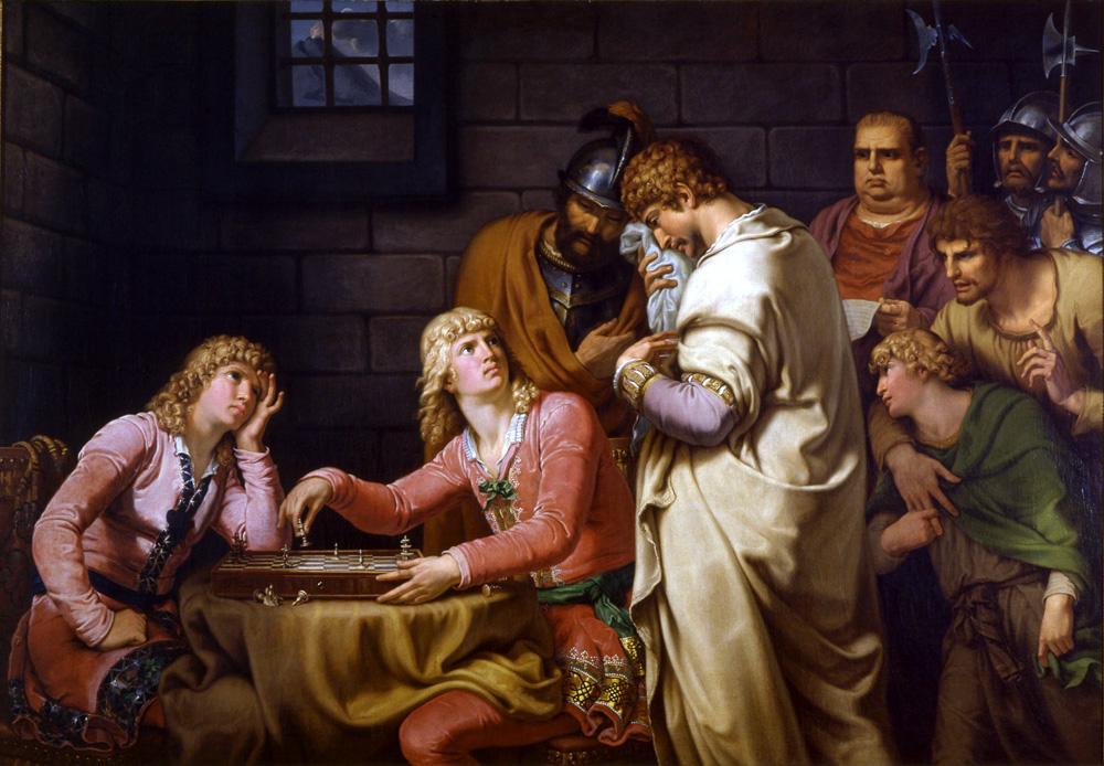 Konradin von Schwaben y Friedrich von Österreich escuchan su sentencia de muerte mientras juegan ajedrez. Johann Heinrich Wilhelm Tischbein. 1784.