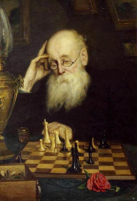 Retrato del jugador de ajedrez Aleksandr Petrov. Grigoriy Myasoyedov. 1907.