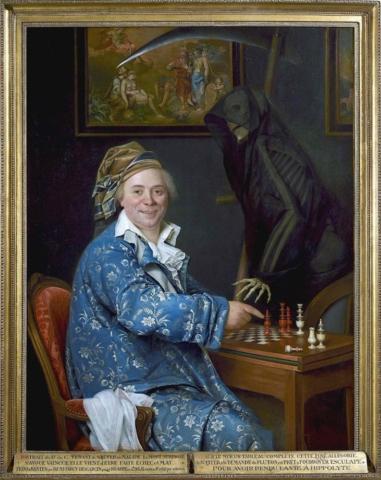 Retrato del Dr. C. jugando al ajedrez con la muerte. Remi-Fursy Descarsin. 1793.