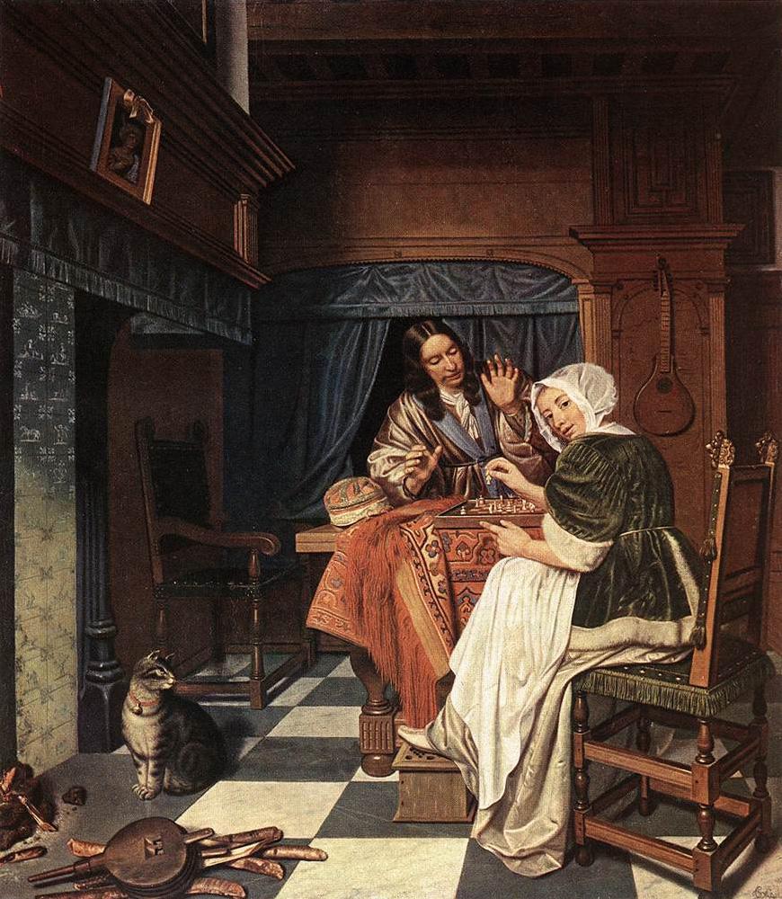 Los jugadores de ajedrez. Kornelis de Man. 1670.