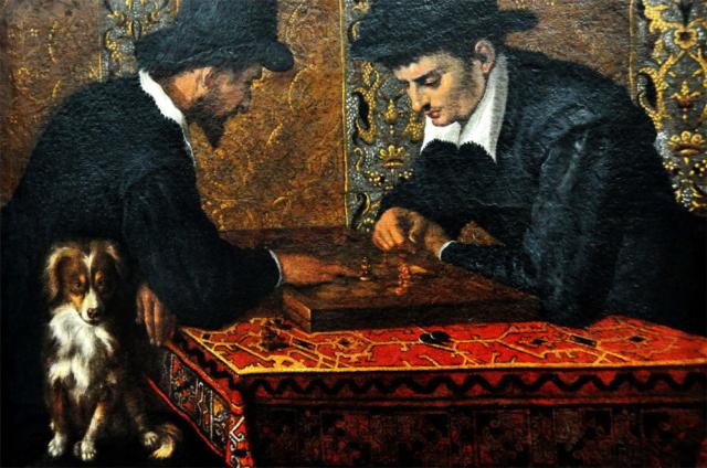 Jugadores de ajedrez. Ludovico Carracci. 1590.