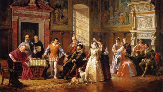 Partidas de ajedrez entre Ruy López y Leonardo da Cutro en la corte española. Luigi Mussini. 1886.