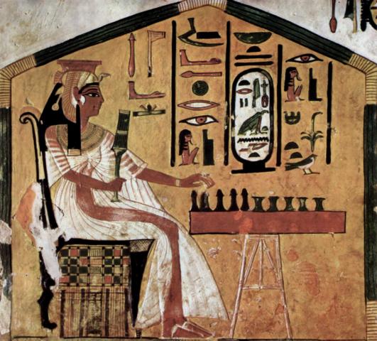 Pintura de la cámara funeraria del Nefertari. Egipto.