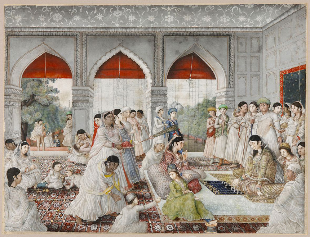 Damas en la vida de la corte durante el entretenimiento de ajedrez. Nevasi Lal. 1790/1800.