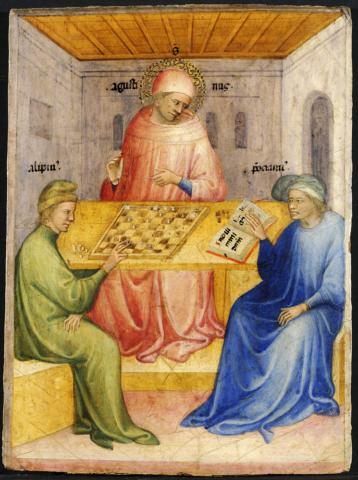 San Agustín y Alypius reciben la visita de Ponticianus. Nicolo di Pietro. 1413.