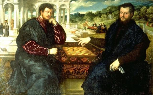 Dos ajedrecistas. Paris Bordone. 1545.